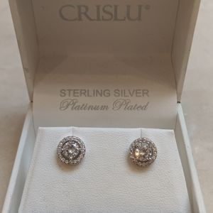 Sterling silver platinum plated  stud earrings